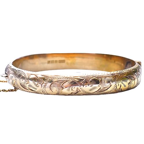 Antique Style Floral Engraved Gilt Bangle