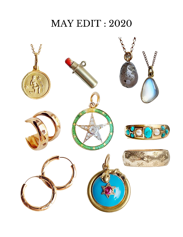 Our may edit of vintage and antique jewellery favourites featuring vintage gold charms, antique rings and some pendants .
