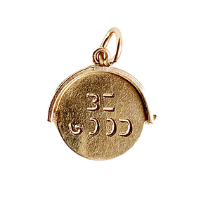 vintage 9ct gold 'be good' spinner charm