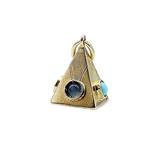 18ct Gold Vintage Gemset Pyramid Charm