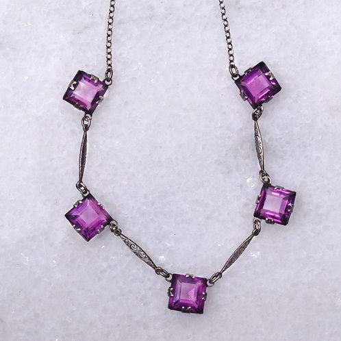 Art Deco Amethyst Paste Silver Collet Necklace
