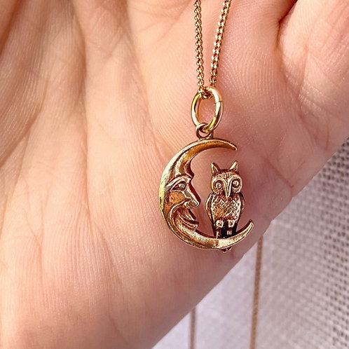 Vintage 9ct Gold Man In The Moon Charm