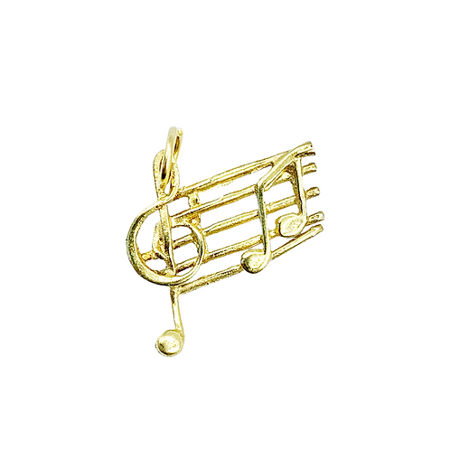 Vintage 9ct Gold Musical Notes Charm