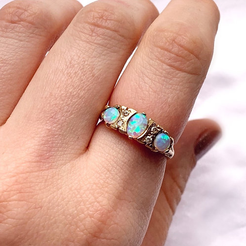 Fiery Opal Galaxy Diamond Ring 9ct Gold