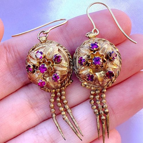 Antique Victorian 9ct Gold & Gilt Earrings