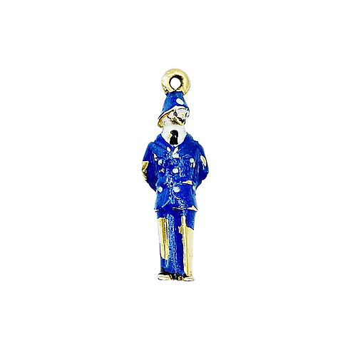Vintage 1950s 9ct Gold Enamel Police Man Charm