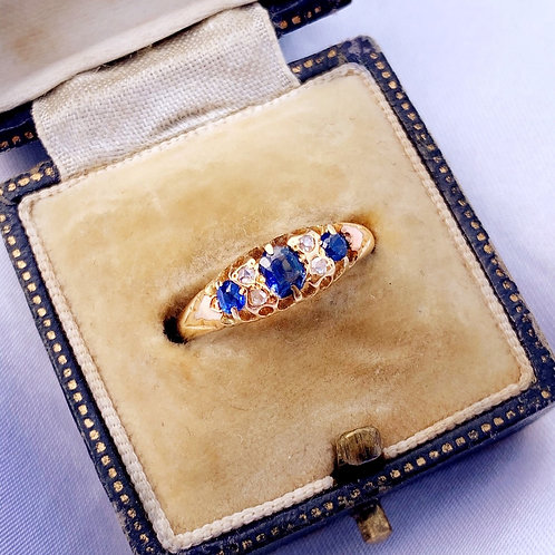 Antique 1898 18ct Gold Sapphire Diamond Boat Ring