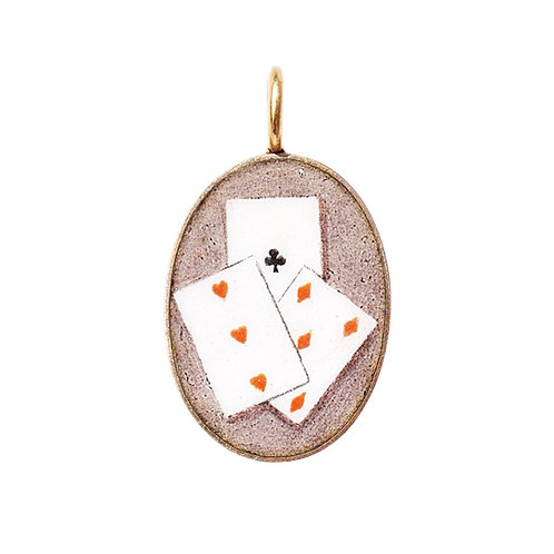 Fabulous Edwardian 9ct Gold Enamel Playing Cards Pendant
