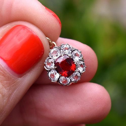 Antique Georgian Paste Ruby Flower Charm
