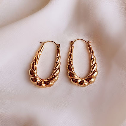 Vintage 9ct gold scooped twisted hoop earrings