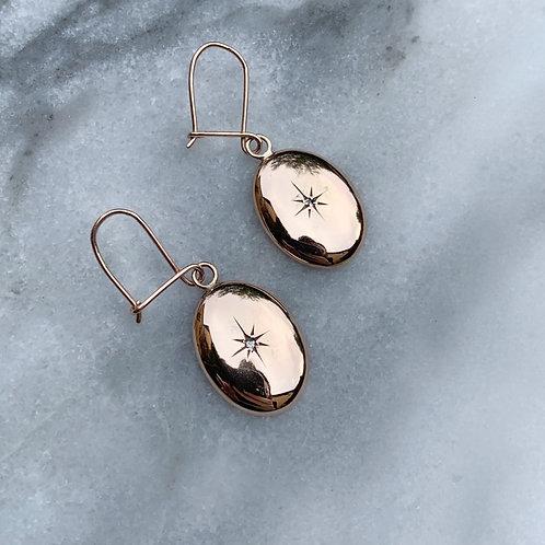 Antique Stargazer Gold Diamond Earrings