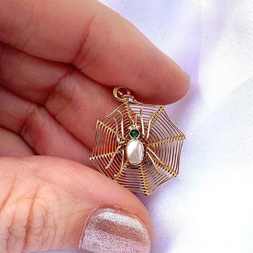Antique 9ct Gold Emerald Paste Spider Charm