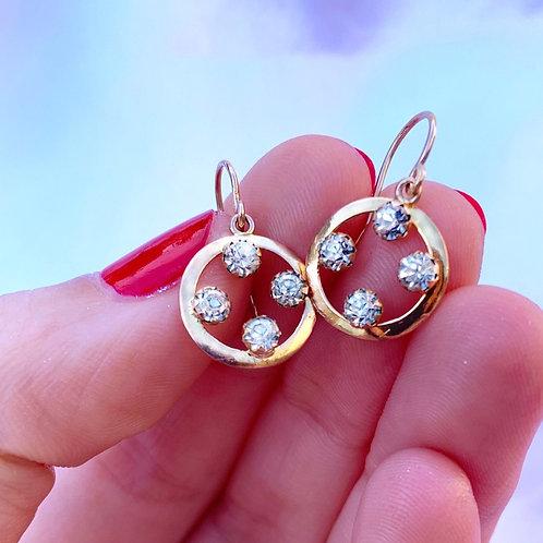 Antique Art Deco 9ct Gold Paste Earrings