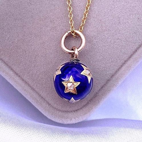 Enchanting Gold Enamel Blue Diamond Sphere Charm
