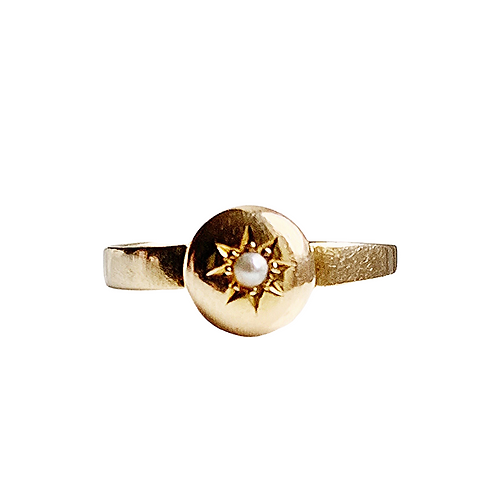 * RESERVED* Antique 9ct Gold Celestial Ring