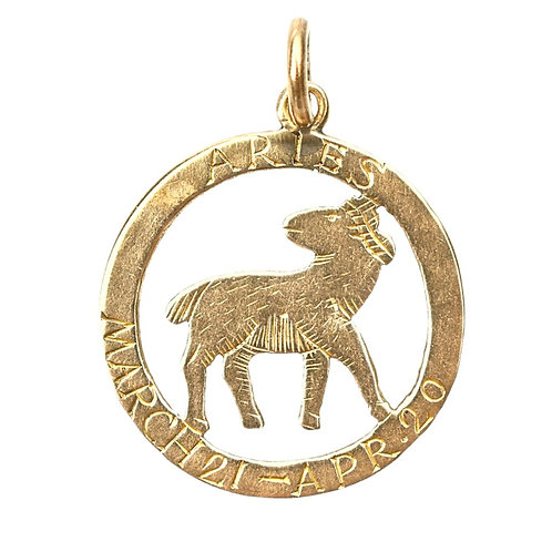 Vintage 9ct Gold Aries Zodiac Charm
