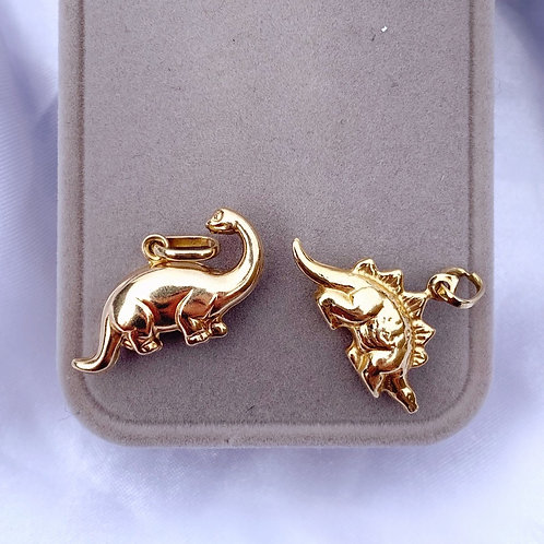Vintage 9ct & 18ct Gold Puffed Dinosaur Charms