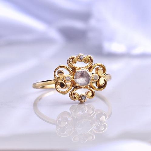 Victorian 18ct Gold Rose Cut Diamond Flower Ring