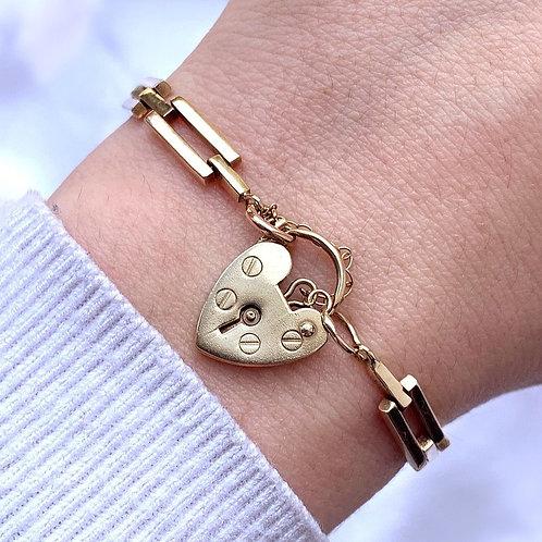 Vintage 9ct Gold Smooth Chunky Gated Link Bracelet