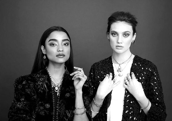 Our models from our 2019 photoshoot wearing our vintage jewellery and Zoe's vintage clothing
