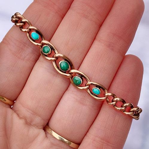 Antique Turquoise Cabochon Bracelet