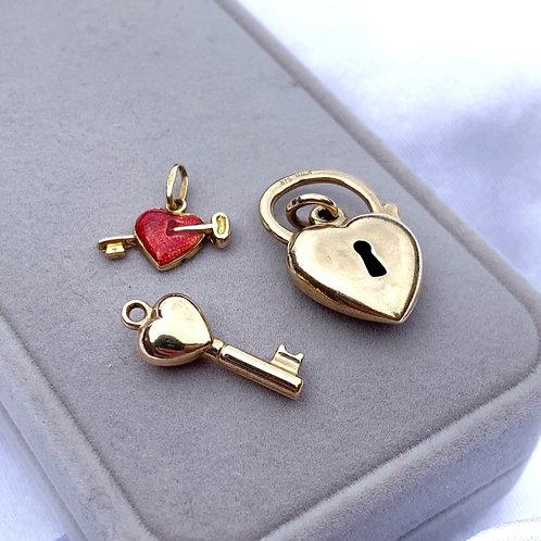 Vintage Keys, Hearts & Locks Charms
