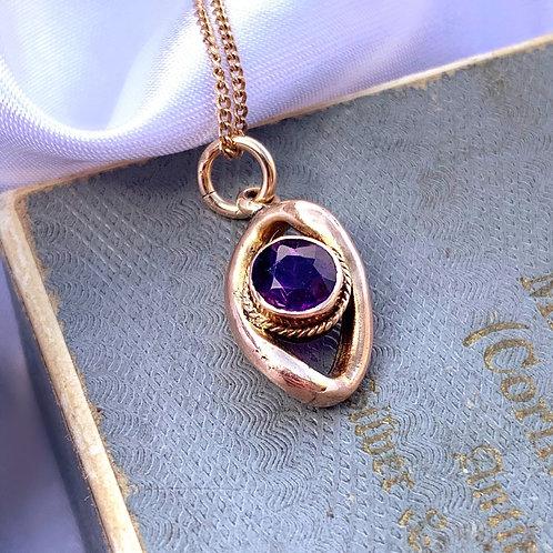 9ct Gold Amethyst Eye Charm