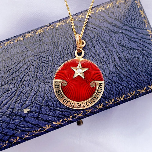 Larger 18ct 'This Be Your Lucky Star' Talisman Pendant