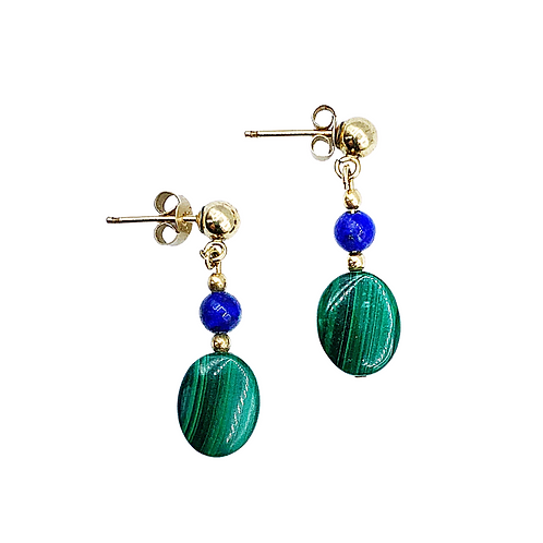 Malachite & Lapis Lazuli Gold Dangle Earrings