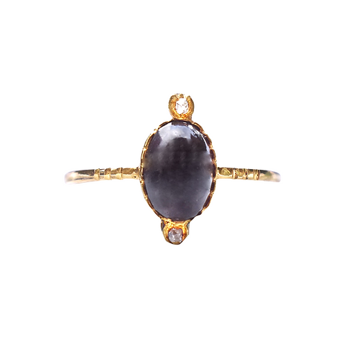 Victorian 18ct Almandine Garnet Cabochon Diamond Ring