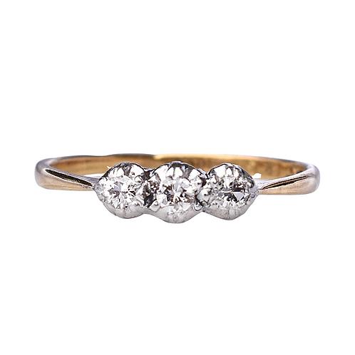 Edwardian 18ct Gold & Platinum Old Cut 0.12ct Diamond Trilogy Ring