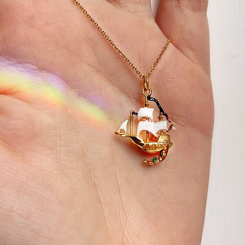 *RESERVED* Vintage 9ct Gold Enamel Lucky Pirate Ship Charm