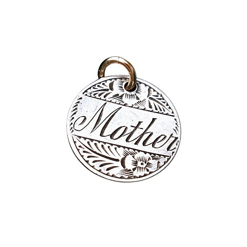 Antique Silver & 9ct Engraved 'Mother' Coin