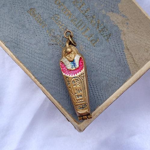 Antique Art Deco Brass Opening Mummy Pendant
