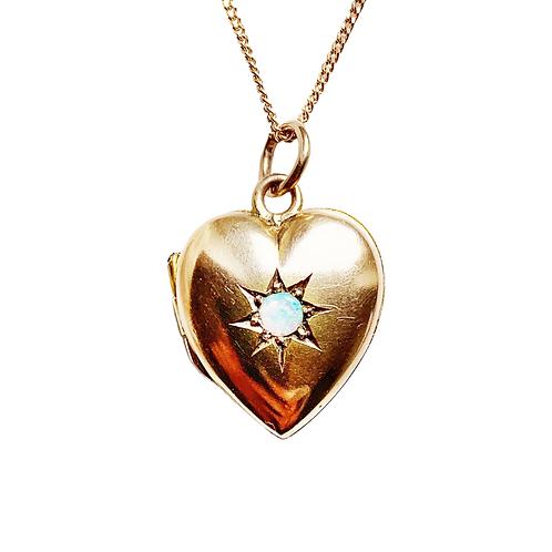 * RESERVED* Cosmic Opal Heart Gold Locket