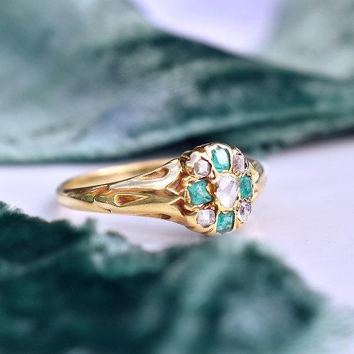 Victorian 18ct Gold Emerald Old Cut Diamond Ring