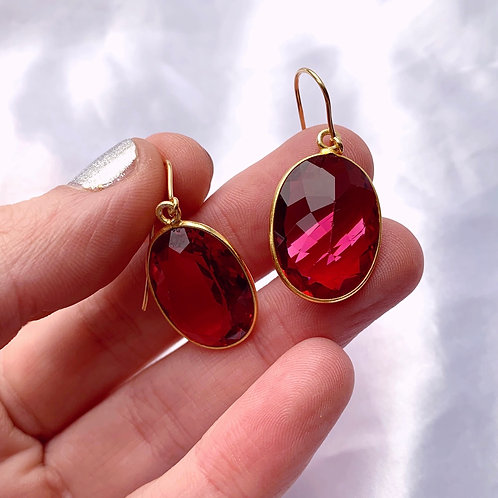 Large Vintage Gumdrop Paste Ruby Earrings