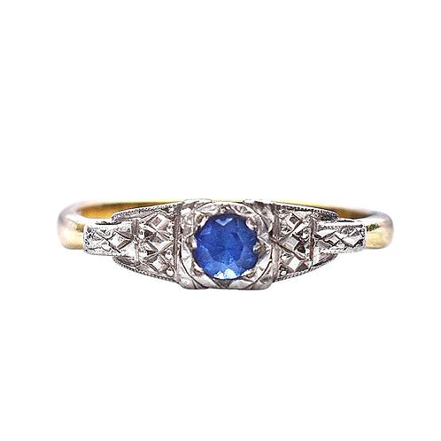 Art Deco 18ct Sapphire Platinum Illusion Ring