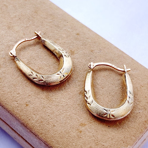 Small Vintage 9ct Gold Hoops