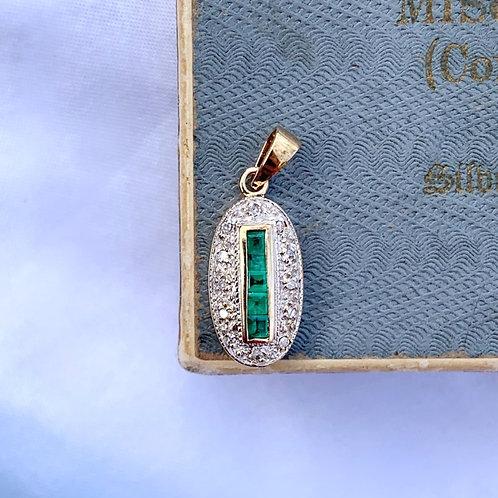 Vintage Art Deco Style Emerald And Diamond Pendant