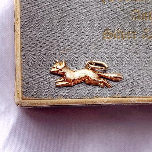 Vintage 9ct Gold Running Fox Charm