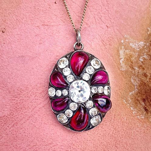 Antique Ruby Paste Burst Silver Pendant