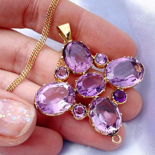 Antique 18ct Gold Amethyst Necklace