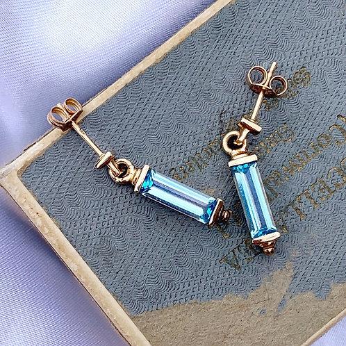 9ct Gold Baguette Cut Topaz Blue Earrings