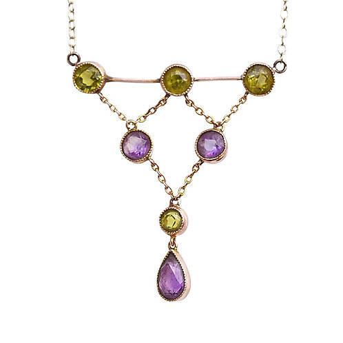 Edwardian 9ct Gold Amethyst & Peridot Drop Necklace