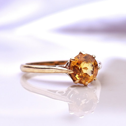 Vintage 9ct Gold Citrine 8 Claw Ring