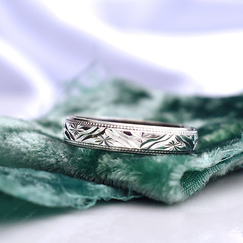 Vintage Luxe White Gold Art Deco Esque Starry Band
