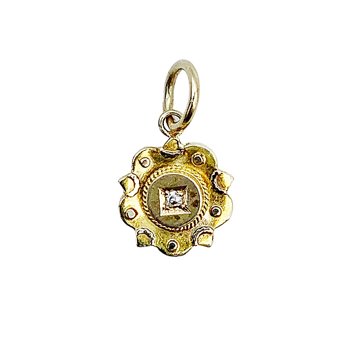 Antique 9ct Gold Diamond Star Charm