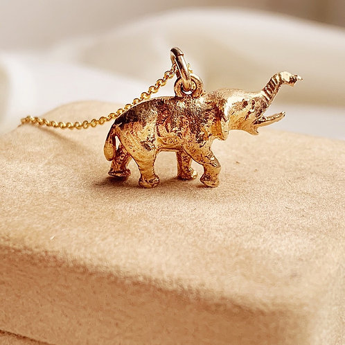 Lucky Vintage 9ct Gold Solid Elephant Charm