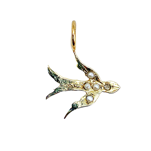 Antique 10ct Gold Pearl Diamond Swallow Charm